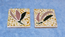 Coasters on tile backs, tesserae cut from sheet glass